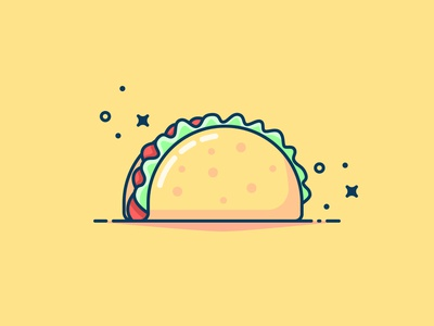 Taco Vector illustration with background fastfood taco design yellow icon illustration flat vector