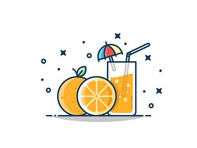 Refreshing orange juice! orange design logo sticker yellow icon illustration flat vector