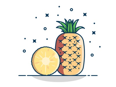 Pineapple, Healthy fruits concept yellow sticker design logo icon vector illustration flat fruits fruit
