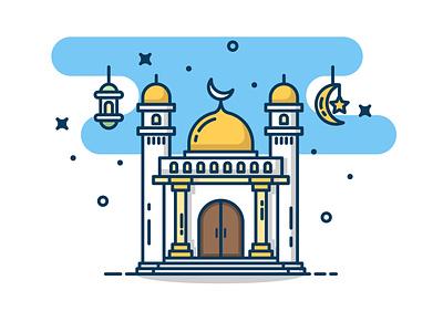 Ramadan Is Coming! ramadan yellow sticker logo design icon vector illustration flat