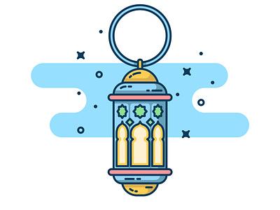 Lantern fanoos! clear yellow sticker logo design icon vector illustration flat lantern