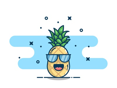 Pine apple! clear yellow sticker logo design icon flat illustration vector fruits pineapples