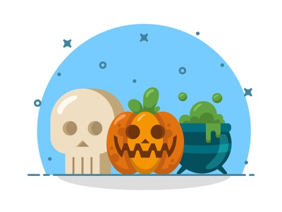 Halloween Time! logo ux pumpkin halloween icons sticker design icon vector illustration flat