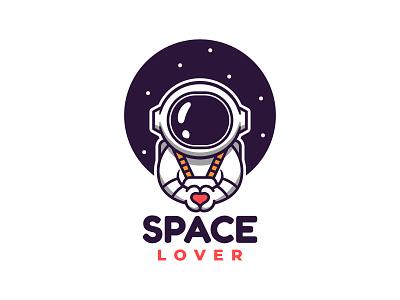Astronaut Logo Design vector flat icon love astronaut space logo