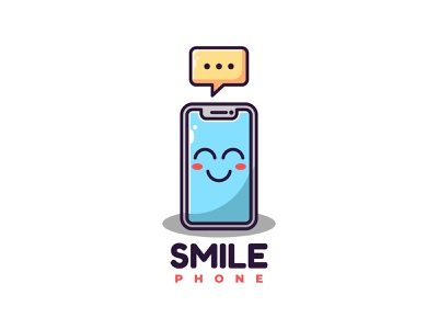 Smile Phone Logo (For Sale) character cute mascot sticker logo illustration icon flat vector