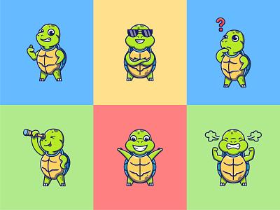 6 Cute Turtles icon logo sticker design characters illustration flat vector mascot