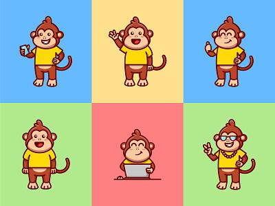 Cute Monkey Mascot Character nft sticker icon cartoon cute animal illustration branding logo mascot character vector