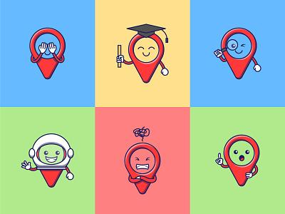 6 Cute Map Pin Mascot character cute mascot design sticker logo illustration icon flat vector