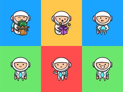Cute Little Astronaut 👩🚀👨🚀 brand money rocker illustration cartoon flat sticker cute character logo mascot vector space astronaut