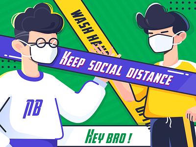 keep distance illustration cartoon