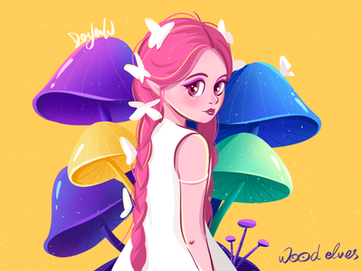 Forest elves~ illustration forest yellow girl design cartoon cute