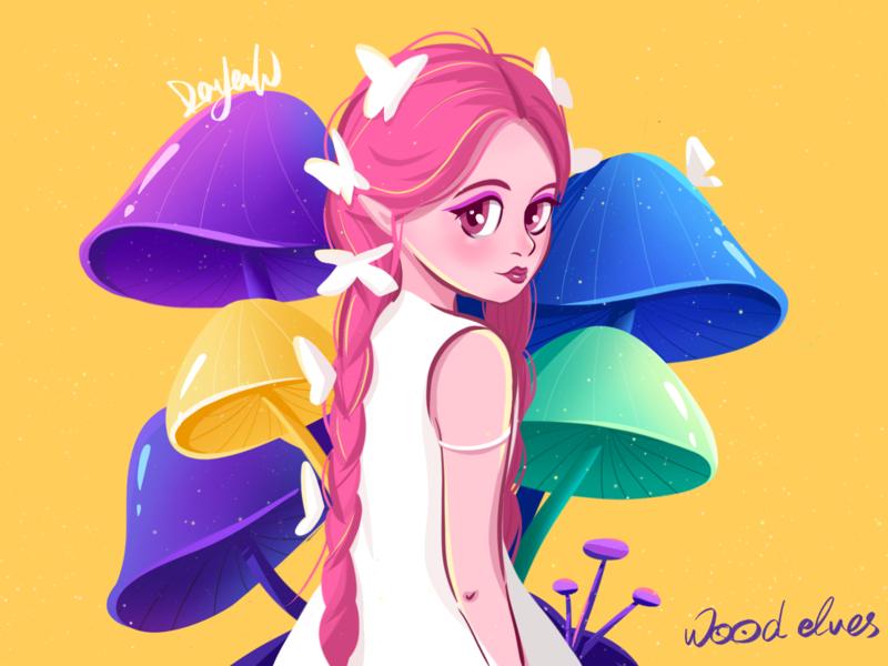 Forest elves~ illustration forest yellow girl design cartoon cute