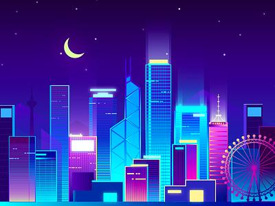 Night scene in Hongkong 设计 building ui 插图
