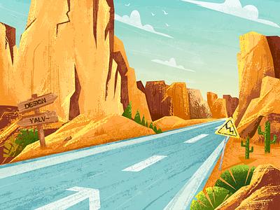 Corner overtaking~ scenery mountain 绿色 road trip road yellow 设计 动画片 卡通设计 插图