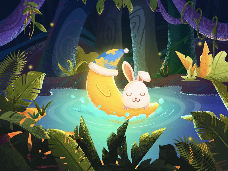 Forest night pond forest animals 设计 卡通设计 动画片 插图