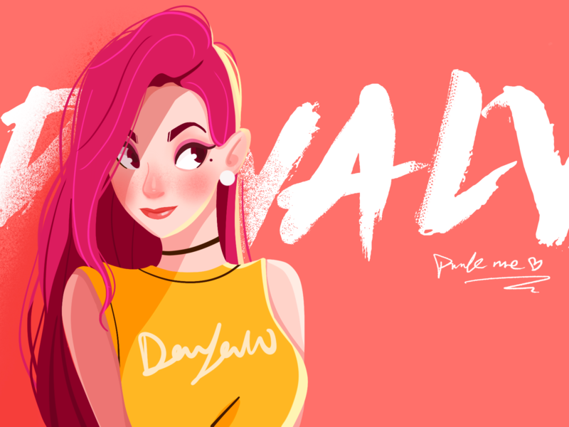 Practice 2 dribbble illustration girl lovely light and shadow character pink cartoon brief strokes