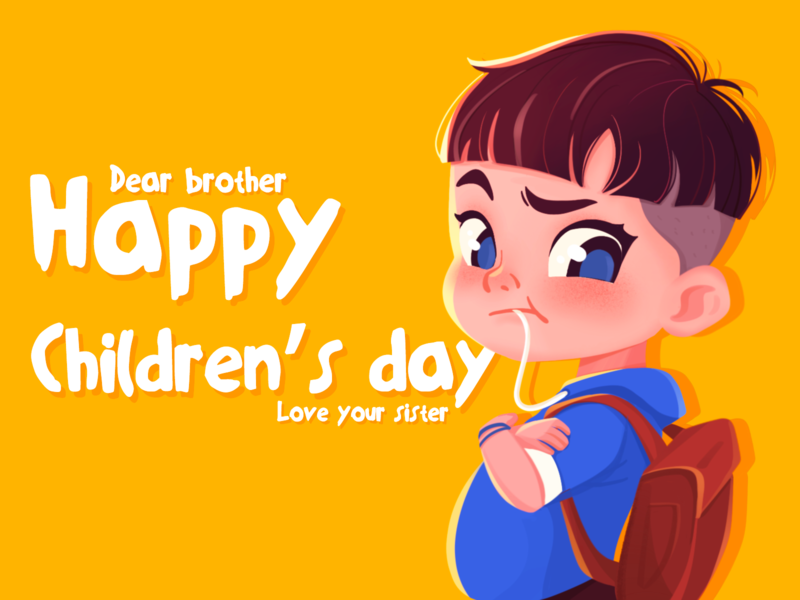 Happy children's day cute art blue brief strokes character expression hand painting children yellow colorful art animation character illustration cartoon characters boy