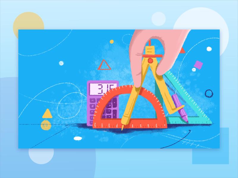 Illustration for Learning App kids students children geometry learning maths illustrate illustration sketch