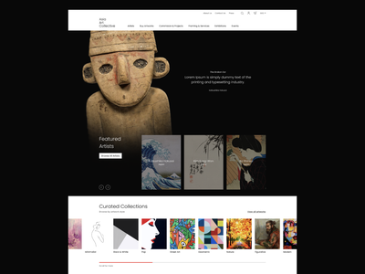 Art Collective Online Shop large footer curated painting concept slider ecommerce minimal grid artists indonesia mock up dark online shop art