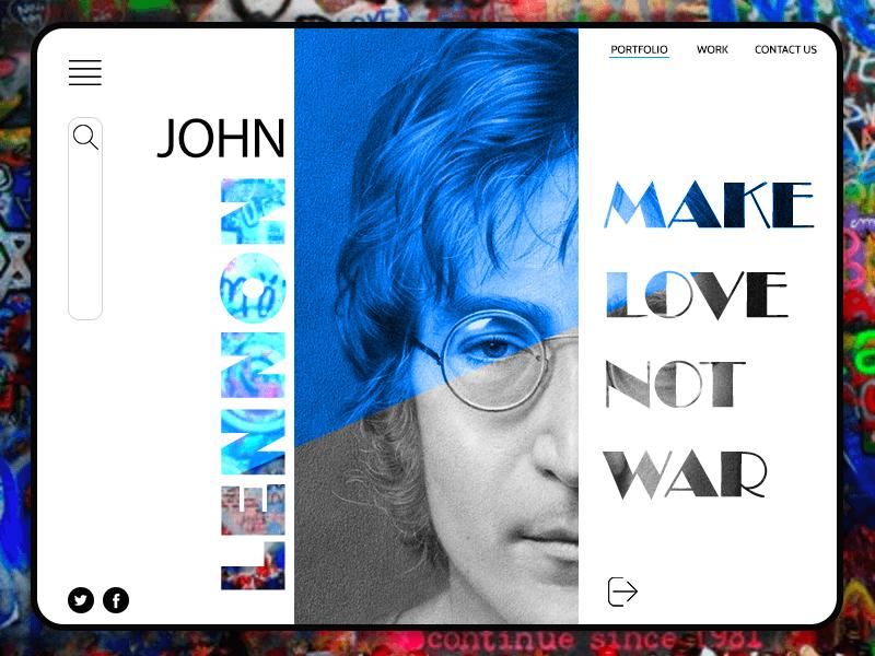 Landing Page Lennon website concept john lennon landing page 2dart ui