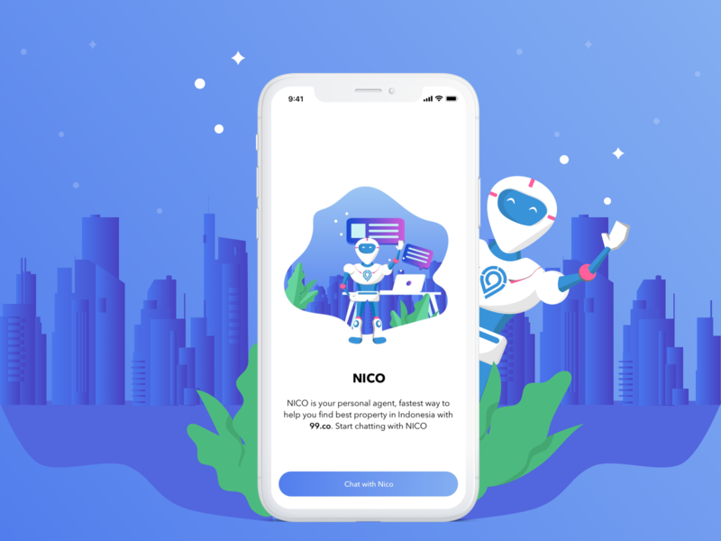 Onboarding Chatbot App chat bot chat app chatting agent chatbot property interface design iphone x mockup on boarding uiux ios mobile sketch clean design gradient design ui apps illustration