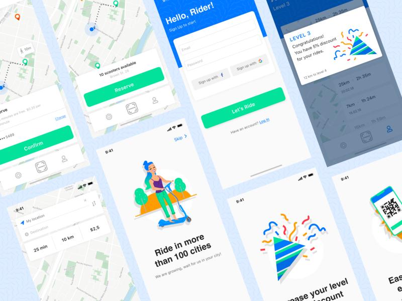 Scooter Rent App ios rent scooter maps ui  ux design ui mobile app mobile app concept
