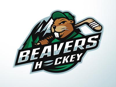 Beavers Hockey logo mountain logo badge design beaver sportslogos sports hockey logo badgelogo branding sportslogo beavers hockey academy illustration design mascot masculine bold sport