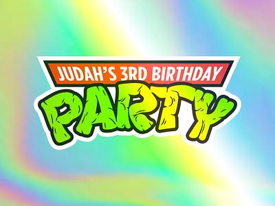 Party!!! type sticker holographic turtle power birthday party ninja turtles