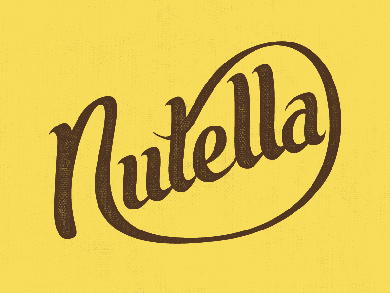 Nutella script custom type text wordmark nutella chocolate
