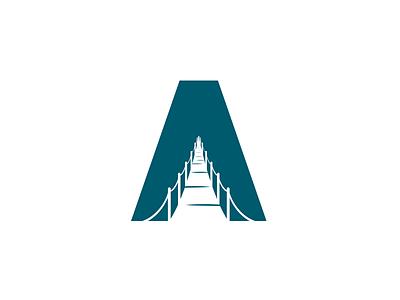 A + Bridge negative space bridge a church symbol mark logo