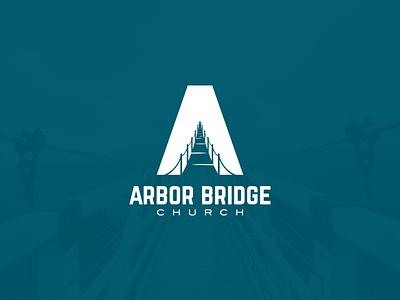 Arbor Bridge Church Logo negative space bridge a church symbol mark logo
