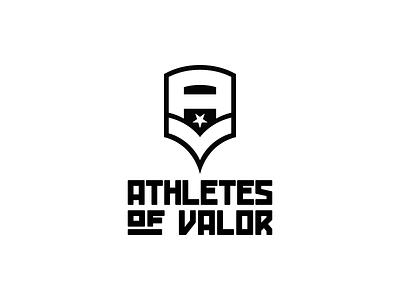 Athletes of Valor Logo v1 type custom a v chevron military badge athletes logo mark wordmark logomark