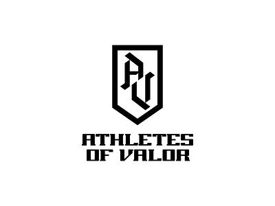 Athletes of Valor Logo v2 type custom a v crest military badge athletes logo mark wordmark logomark