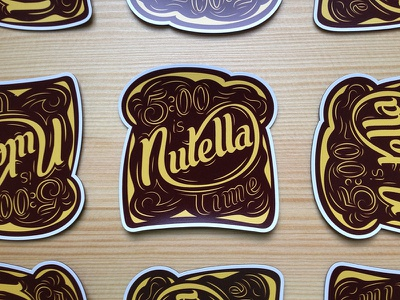 Nutella Time Magnets bread spread lettering custom type script time nutella magnets