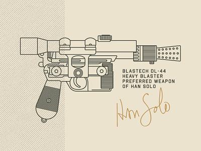 Blastech DL-44 design illustration blaster solo han solo star wars