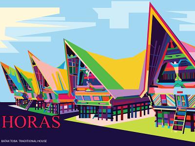 Rumah Adat Toba 01 design adobe illustrator wpap vector popart