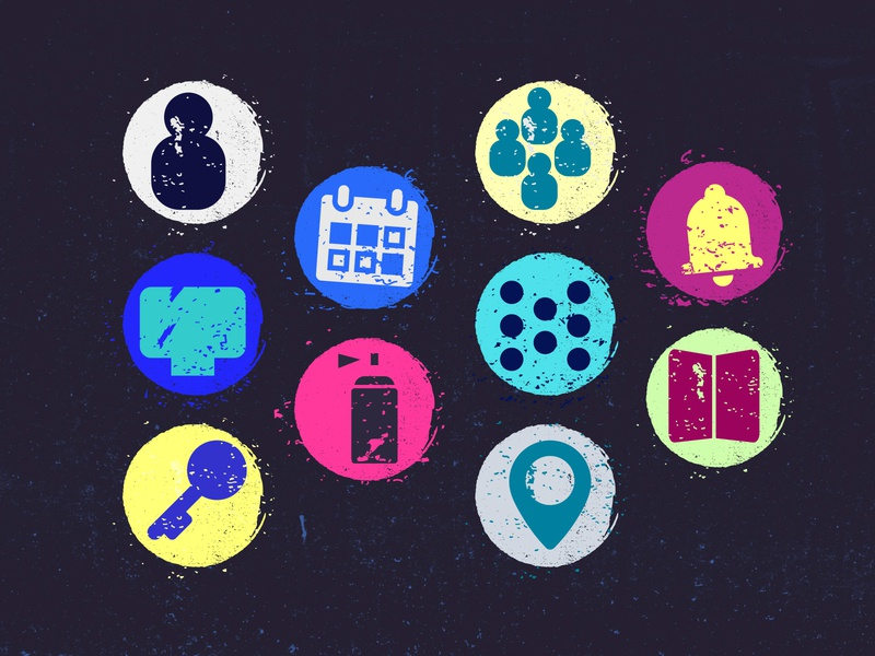 Grunge icons app minimal flat vector branding icon illustration ui design icons grunge