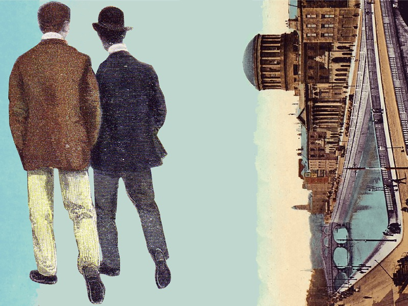 Ulysses book cover photoshop photos illustration design vintage men walking ireland dublin ulysses