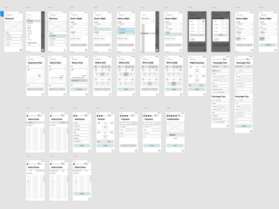 Wireframes for a flight booking system on mobile