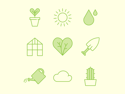 plant it yourself leaves greenhouse watering can spade plants vector icon set