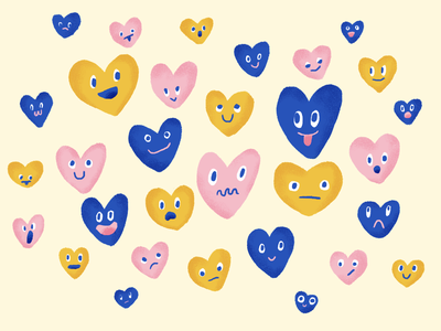 E•MO•TION hearts with faces illustration