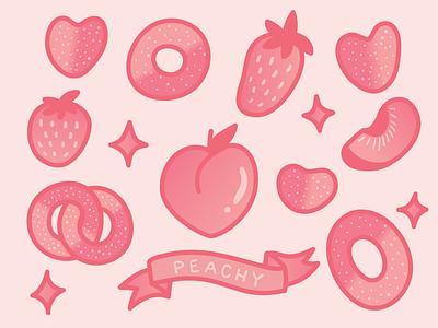 peachy keen illustration vector candy peach rings gummy peach