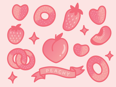 peachy keen illustration vector candy peach rings gummy peach
