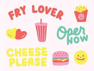 borger illustration vector fry lover fries burger fast food