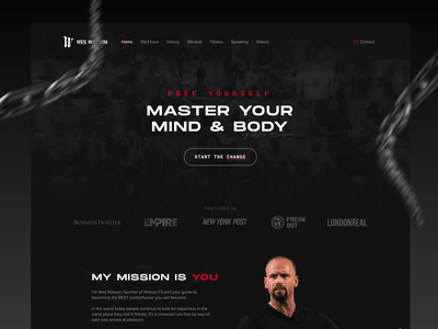 Wes Watson bodybuilder fitness chains strong website webdesign dark uidesigner uidesign webflow