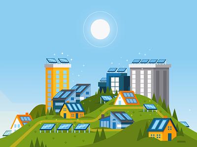 Make Renewable Do-Able alte panel solar energy renewable branding design color vector illustration