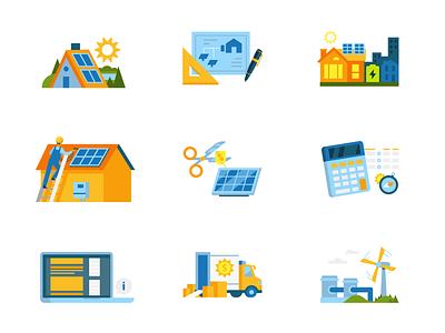 Resource Icons branding alternative solar energy renewable color design icon vector illustration