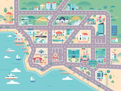 Los Angeles Map beach california socal santa monica la losangeles kid play toy map design color vector illustration