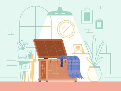 Make it Shine declutter storage organization simplify furnishing home decor recycle trash basket wicker furniture branding icon design vector color illustration