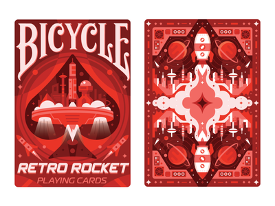Really Rad Retro Rockets red science nasa spaceship rocket astronaut space collection magic deck bicycle card playing design color vector illustration